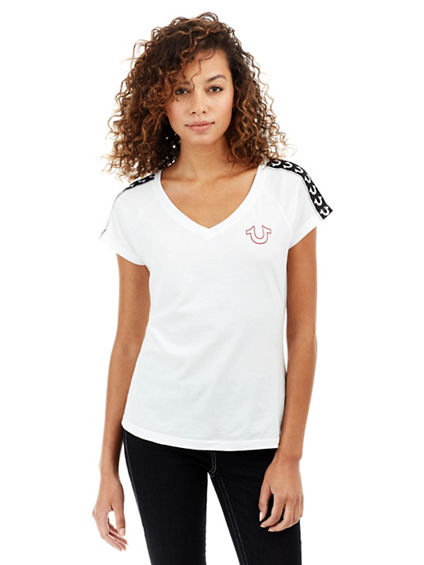 HORSESHOE TAPED SS RAGLN ROUNDED V NECK WOMENS TEE