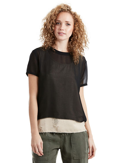 MIXED LAYERED WOMENS TOP