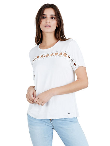 LACE INSET WOMENS TOP