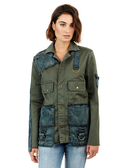 WOMENS MIXED MILITARY JACKET