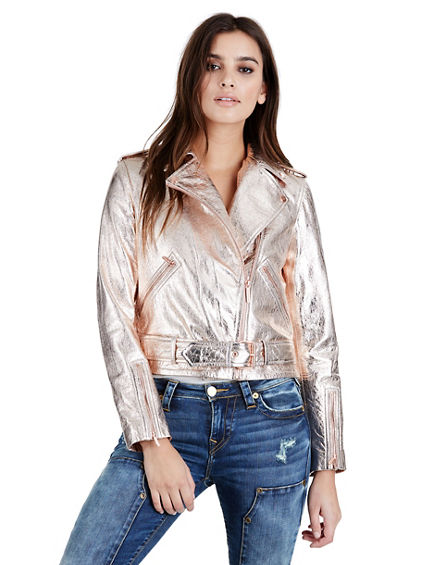 ROSE GOLD METALLIC WOMENS MOTO JACKET