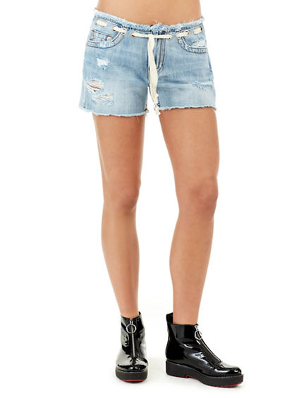 WOMENS MID RISE CUTOFF SHORT
