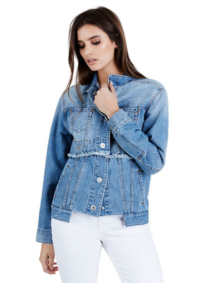 TRUCKER JACKET GROMMET SNAP WOMENS JACKET | Tuggl