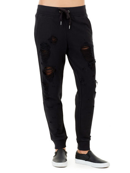 DISTRESSED MESH WOMENS JOGGER