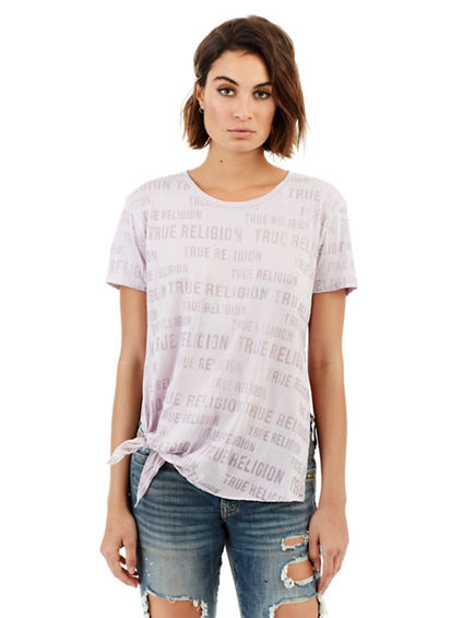 SLOGAN TIE SIDE WOMENS TEE