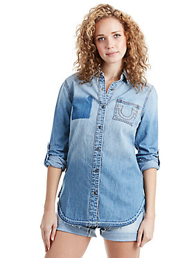 DENIM PANELED BOYFRIEND SHIRT