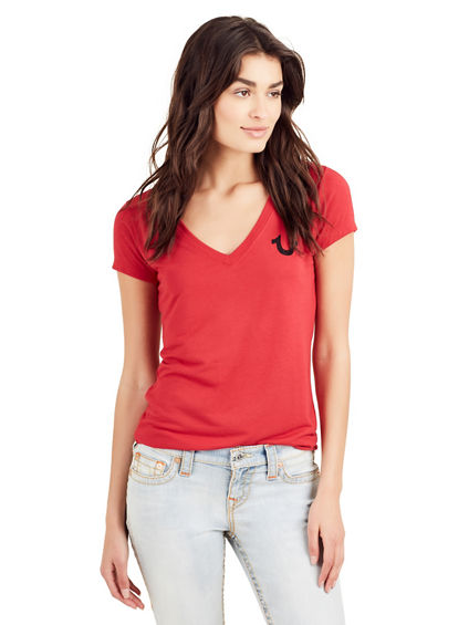CRYSTAL LOGO DEEP V NECK TEE