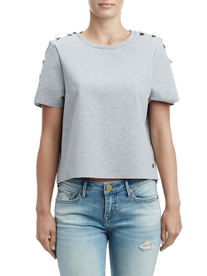 WOMENS RING REPAIR CROP TEE