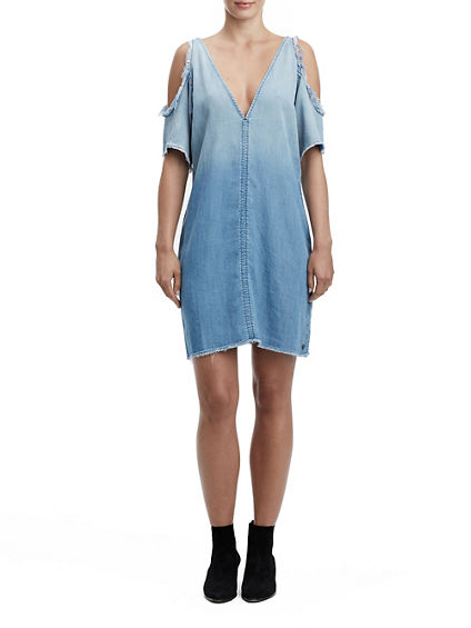 WOMENS OPEN SHOULDER DENIM DRESS
