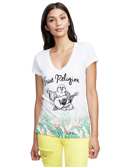TROPICAL PARADISE FADE DEEP V TEE