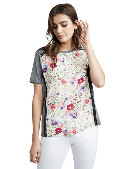 WOMENS FLORAL PANEL TEE