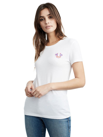 FLORAL CREW NECK WOMENS TEE