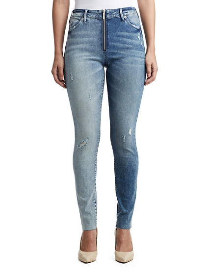 WOMENS ZIPPERED HIGH RISE HALLE SUPER SKINNY JEAN