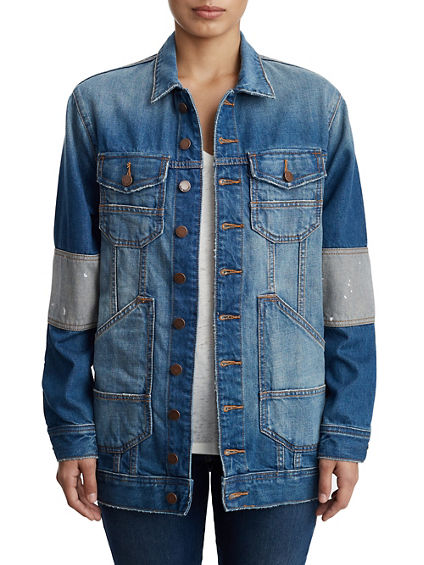WOMENS DECONSTRUCTED DENIM BOYFRIEND JACKET