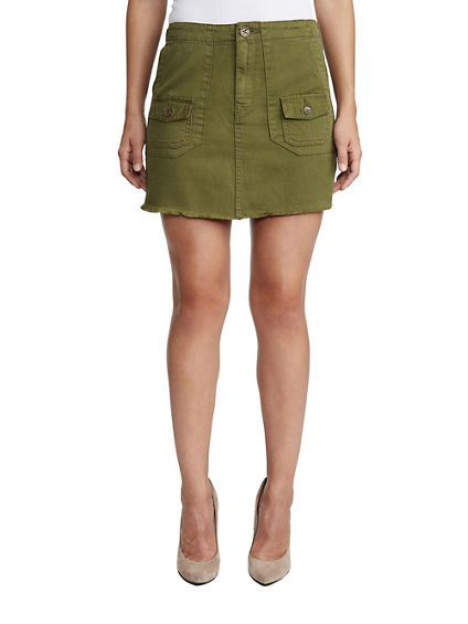 WOMENS HIGH RISE UTILITY MINI SKIRT