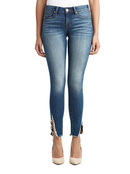 WOMENS RAW ANKLE SLIT HALLE SUPER SKINNY JEAN