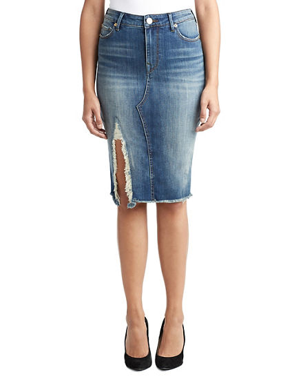 WOMENS RAW EDGE DENIM MIDI SKIRT W/ SLIT