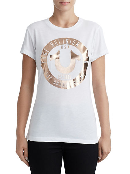 WOMENS METALLIC LOGO GRAPHIC TEE