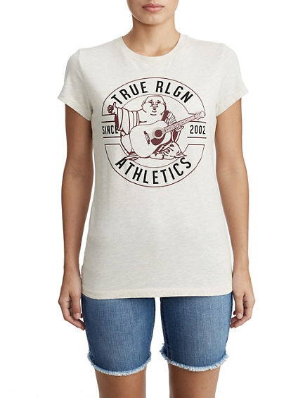 WOMENS CRYSTAL EMBELLISHED BUDDHA GRAPHIC TEE