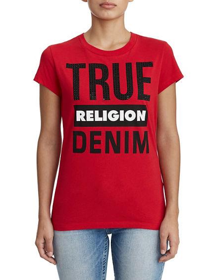 WOMENS TRUE RELIGION DENIM GRAPHIC TEE