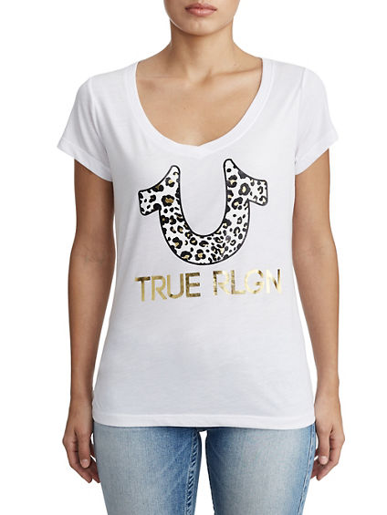 WOMENS LEOPARD PRINT GRAPHIC TEE