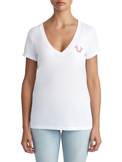 WOMENS CRYSTAL EMBELLISHED BUDDHA LOGO TEE FOR BREAST CANCER