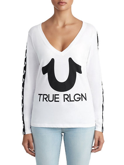 WOMENS HORSESHOE STRIPE LOGO LONG SLEEVE TEE