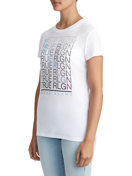 WOMENS CRYSTAL EMBELLISHED FADE GRAPHIC TEE