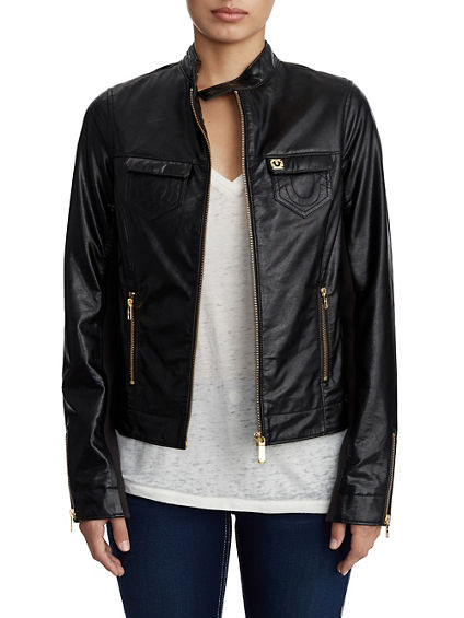 WOMENS VEGAN LEATHER JACKET