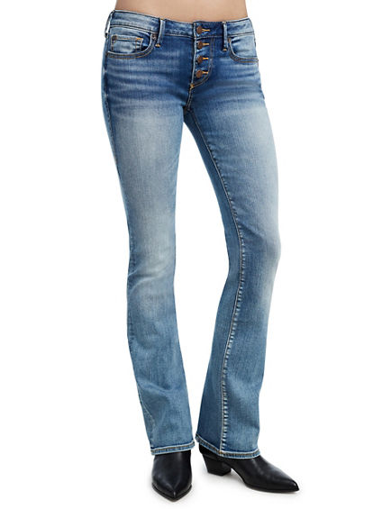 BECCA EXPOSED BUTTON BOOTCUT WOMENS JEAN
