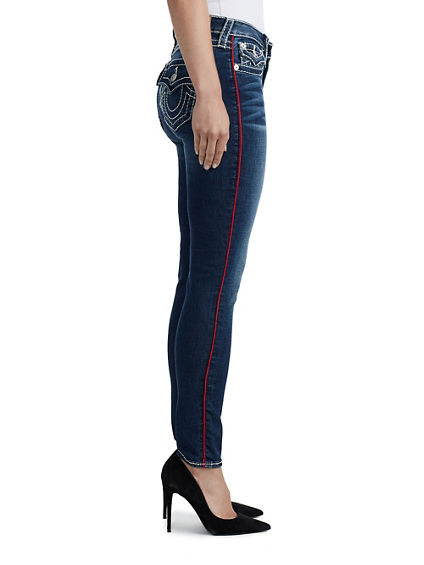 WOMENS BIG T PIPING CURVY SKINNY JEAN W/ FLAP