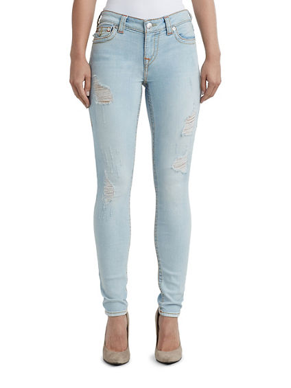 WOMENS BIG T DISTRESSED SUPER SKINNY JEAN W/ FLAP