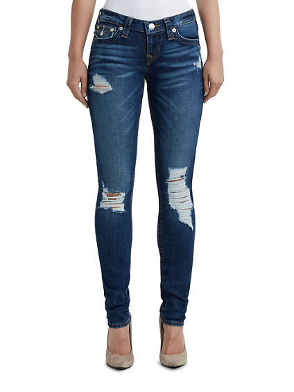 WOMENS DISTRESSED SKINNY JEAN W/ FLAP