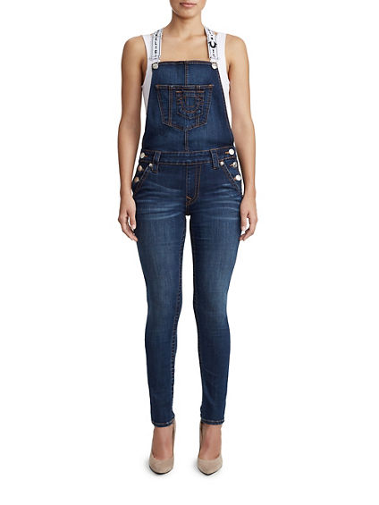 WOMENS SUPER SKINNY DENIM OVERALL W/ LOGO STRAP
