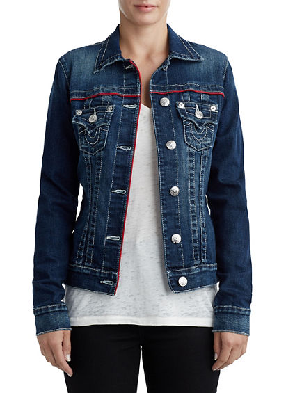 3e25860fc838c WOMENS PIPED TRUCKER DENIM JACKET