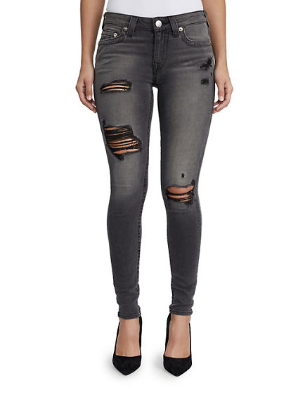 WOMENS CURVY DISTRESSED SUPER SKINNY JEAN