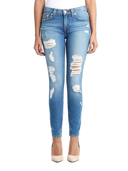 WOMENS DESTROYED CURVY SKINNY JEAN