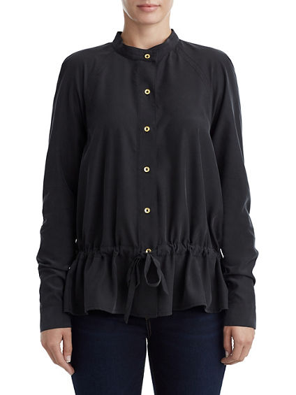 WOMENS BUTTON UP DRAWSTRING BLOUSE