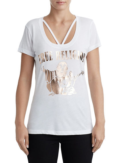 WOMENS CUT AND SEW STRAPPY GRAPHIC TEE