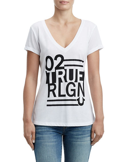 STRIPED TRUE RELIGION SHIRTTAIL TEE