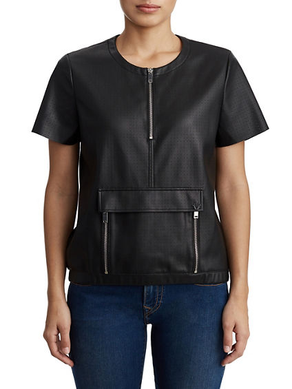WOMENS VEGAN LEATHER ZIPPERED SHORT SLEEVE TOP