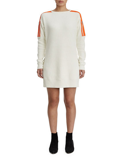 WOMENS CONTRAST UTILITY SWEATER DRESS