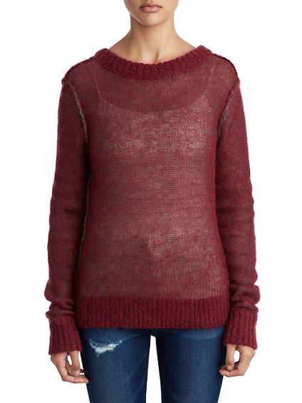WOMENS OPEN BACK KNIT WOOL SWEATER