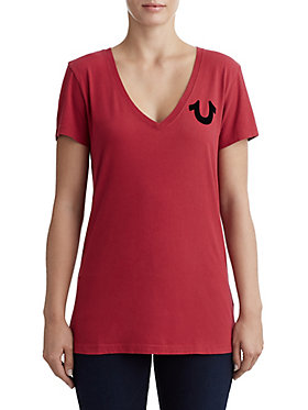 WOMENS FLOCKED GRAPHIC V NECK TEE