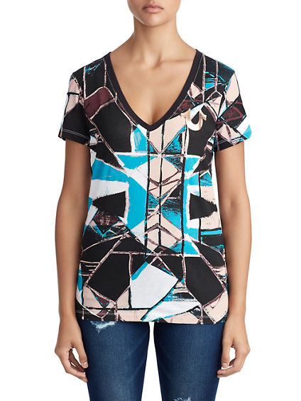WOMENS STAINED GLASS BUDDHA GRAPHIC TEE