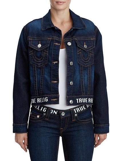 WOMENS LOGO STRIPE CROPPED DENIM JACKET