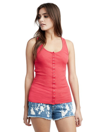 WOMENS BUTTON RIBBED TANK