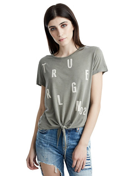 TIE FRONT GRAPHIC WOMENS TEE