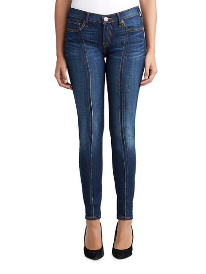 WOMENS SEAM STRIPE HALLE SUPER SKINNY JEAN