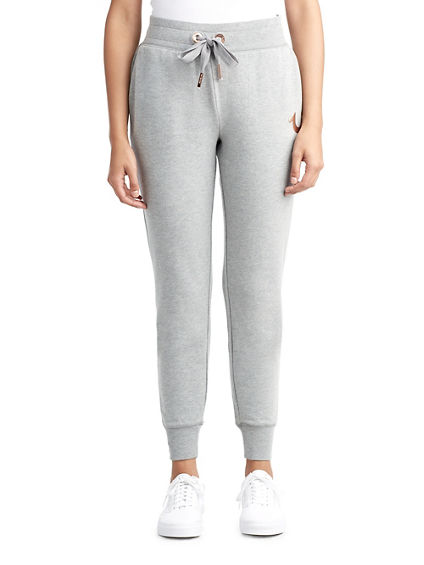 WOMENS COZY METALLIC PUFF PRINT JOGGER